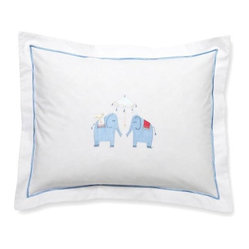 Baby Boudoir Pillow, Umbrella Elephants, Blue