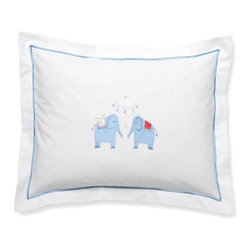 Jacaranda Living - Baby Boudoir Pillow, Umbrella Elephants, Blue - Elephants are a symbol of good luck in many cultures so why not get your baby off on the right path? This adorable pillow cover is handmade and hand embroidered. Machine washable.