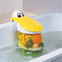 "Pelican Bath Toy Storage Pouch - Gulp! This pelican stores bath toys by ""swallowing"" them. The mesh storage pouch allows air to circulate and dry toys. With this well-thought-out design, kids can access toys from a safe, seated position. And when it's mom or dad's turn to shower, just turn the pouch around so that it's outside of the tub and out of the way."