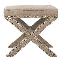 Palmer Taupe Ottoman - This classic Palmer ottoman from Layla Grace will prance its way into your heart. With its stunning nailhead detailing, it has the extra oomph to elevate it to an entirely new level.