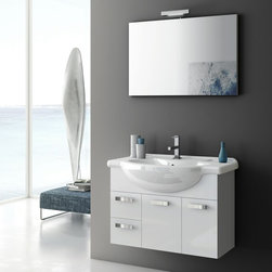 ACF - 32 Inch Bathroom Vanity Set - Set Includes: . Vanity Cabinet (2 doors, 2 drawers). Fitted ceramic sink (33.9 inch x 19.3 inch ). Mirror (W 33.5 inch x H 21.8 inch ). Vanity light. Vanity Set Features:. Vanity cabinet made of engineered wood. Cabinet features waterproof panels. Available in Glossy White, Glossy Red, Glossy Anthracite. Cabinet features 2 doors and 2 soft-closing drawers. Faucet not included. Perfect for modern bathrooms. Made and designed in Italy. Includes manufacturer 5 year warranty.