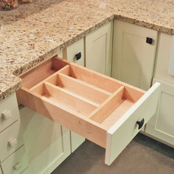 """CliqStudios.com - Utility Tray - Our drawer inserts are 1/2"""" Solid hardwood dividers, with a plywood base and a tough melamine top finish. The Utensil Tray insert is great for organizing all of your large spoons, spatulas and more. Fits into base cabinets from 15"""" – 24"""" wide and will have varied configurations."""