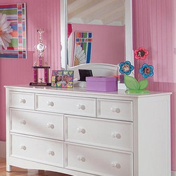 Bolton Furniture - Wakefield 7-Drawer Dresser w Mirror in White Finish - Includes dresser and mirror. Solid frame construction built to last. 4 Sided dovetailed drawer box construction. Under mount self-closing drawer glides. Made of solid wood and veneers. Dresser:. 7 Drawers. 60 in. W x 19 in. D x 34 in. H (180 lbs.). Mirror:. Rectangular. Mirror: 32 in. W x 40 in. D. 1-Year warranty