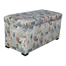 Sole Designs - Sole Designs Angela Prime Natural Storage Trunk - Covered with a unique postage-stamp design,this whimsical upholstered storage trunk provides additional storage and a fashionable decorating feature for your home. Beautifully designed with tufted fabric,this trunk boasts a black finish on the legs.