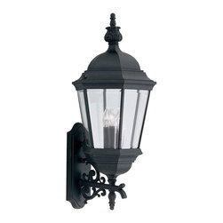 Designers Fountain - Designers Fountain Abbington Traditional Outdoor Wall Sconce X-KB-2592 - Simplicity meets elegance in this Designers Fountain Abbington Traditional Outdoor Wall Sconce. It has a beautiful, cast aluminum frame in a sleek black finish with gracefully flowing scroll work and panels of clear, beveled glass. It's a wonderful piece with a look that is sure to turn heads, and one that will easily complement a broad range of architectural styles.
