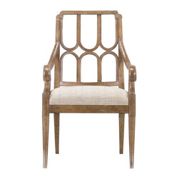 Stanley Furniture - Archipelago-Port Royal Arm Chair - Gently curved legs of the Port Royal Arm Chair carry through the oval and diamond pattern of the back and the gentle scroll of the arms. Relaxed in the island tradition but with a measure of refinement, this chair lets the quality of the materials shine through. Comfortable and confident at the head of any table.