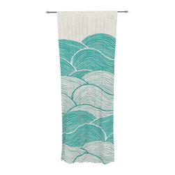 "Kess InHouse - Pom Graphic Design ""The Calm and Stormy Seas"" Green Teal Decorative Sheer Curtai - Let the light in with these sheer artistic curtains. Showcase your style with thousands of pieces of art to choose from. Spruce up your living room, bedroom, dining room, or even use as a room divider. These polyester sheer curtains are 30"" x 84"" and sold individually for mixing & matching of styles. Brighten your indoor decor with these transparent accent curtains."