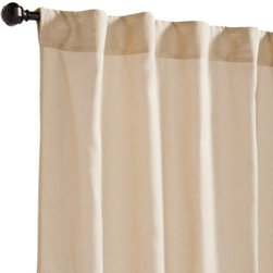 """Grandin Road - Sheer Outdoor Panel - Sheer Sand, 96""""L - Durable and weather-resistant curtain panels, designed to live outside. Rod-pocket top. Made from 100% solution-dyed polyester. Stands up to UV rays. Each is 50""""W. Add a billowing outdoor curtain panel or two for privacy in the pergola or on the porch. Each is sewn from all-weather fabric with a hidden rod-pocket top. Select from a variety of vibrant colors and patterns that are made to coordinate with our outdoor cushions, pillows and more.  .  .  .  .  . Made in the USA."""
