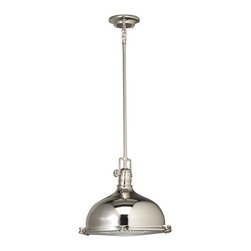 """Kichler - Kichler 2666PN Polished Nickel Hatteras Bay Traditional / Classic - Features:Dome Shaped Fresnel Lens Glass ShadeLamping Technologies:Bulb Base - Medium (E26): The E26 (Edison 26mm), Medium Edison Screw, is the standard bulb used in 120-Volt applications in North America. E26 is the most common bulb type and is generally interchangeable with E27 bulbs.Compatible Bulb Types: Nearly all bulb types can be found for the E26 Medium Base, options include Incandescent, Fluorescent, LED, Halogen, and Xenon / Krypton and their dimming counterparts.Specifications:Number of Bulbs: 1Bulb Base: Medium (E26)Bulb Type: IncandescentBulb Included: NoWatts Per Bulb: 150Wattage: 150Height: 11.5""""Length: 14.875""""Width: 13.25""""Canopy Diameter: 5""""Wire Length: 101""""Energy Star: NoCompliance:Energy Star is an international standard for energy efficient consumer products originated in the United States of America. Devices carrying the Energy Star service mark generally use 20%–30% less energy than required by federal standards."""