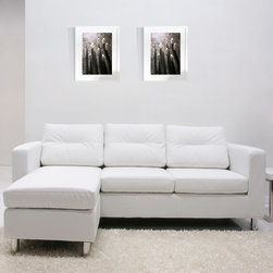 """Gold Sparrow - Detroit Convertible Sectional Sofa and Ottoman - Detroit furniture series features a sleek contemporary design offers comfort and style to your home. It also features neat, European styling with cushioned backs, padded armrests and cylindrical chrome legs. Features: -Detroit collection. -Color: White. -Legs: Chrome. -Frame material: Wood. -Upholstery material: Premium polyurethane leather. -Upholstery fill: High density foam. -Interchangeable in 3 arrangements with sectional converting into a 2 pieces sofa and ottoman set within seconds. -Plush back for extra comfort and relaxation. -Seat cushions are detachable. Dimensions: -Seat Height: 17"""". -Sofa: 28.35"""" H x 79.13"""" W x 31.50"""" D. -Ottoman: 17.13"""" H x 22.83"""" W x 22.83"""" D. -Overall Product Weight: 103.62 lbs."""