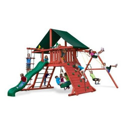 Gorilla Playsets Sun Climber I Wood Swing Set with Canvas Green Canopy - A king or queen is nothing without a castle; and the Gorilla Playsets Sun Climber I Wood Swing Set with Canvas Green Canopy turns your little prince or princess into sun king or sun queen. Outdoor play is so critical for children because their growing bodies need sunlight and fresh air to properly process nutrients. This fabulous play set has loads of features that will keep them busy all day. But not to worry, the attractive Canvas Green-colored Sunbrella fabric canopy will help protect them from harmful UV rays and give them a place to rest and refuel. Parents will also love the other safety features, such as securely anchored easy-grip handles; safe-option ladder; rock wall safety rope; and overall stable, square footing. Whether your child chooses to imagine this set as a castle, a fort, or even a ship, the swings and numerous climbing features provide kinetic play opportunities that allow your child to flex their muscles both physically and mentally as they find different ways to explore and play with this set.Additional FeaturesTotal dimensions: 252W x 144L x 132H inchesPlatform dimensions: 6W x 4L x 5H feetIncludes flag kit, safety handles, hardware4 x 4 solid wood framing4 x 6 swing beamsNaturally resistant to rot, decay, and insect damageAbout Gorilla Playsets Since 1992, Gorilla Playsets has been designing and selling ready-to-assemble playsets. With a reputation for providing excellent customer service, Gorilla Playsets conveniently provides customers with affordable playsets including quality wood components, sturdy playset accessories, all necessary hardware, and clear instructions. Gorilla Playsets always keeps safety in mind while creating inventive, durable products that provide children with myriad possibilities for fun and play.