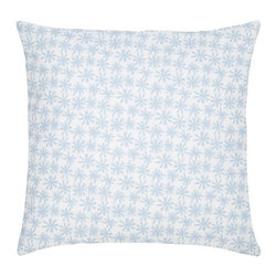 "Petite Etoile Cotton Pillow, Sky - Modern and classic - the hallmark of the CocoCozy style.  This 100% cotton decorative pillow is sure to make a statement in any room. Each 20"" x 20"" pillow is custom made and manufactured in the United States with an invisible zipper and a knife edge finish.  Dry clean only."