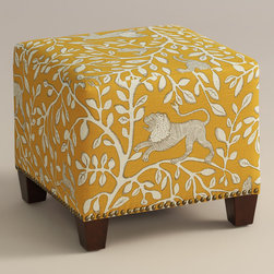 "World Market - Pantheon McKenzie Ottoman - Cozy up with our custom-made Pantheon McKenzie Ottoman, handcrafted in the U.S.A. with cotton upholstery and nail head trim. Showcasing a whimsical tree and animal motif against a dandelion ground, this World Market exclusive ottoman makes a bold statement. Pair two ottomans for a dramatic ""bench"" at the foot of the bed. Shop our coordinating bed or headboard in the same custom fabric for a pulled together look."