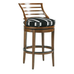 Lexington - Tommy Bahama Ocean Club Pacifica Swivel Bar Stool - The gentle flaired curve of the horizontal slats is appealing and comfortable for those enjoying a cool beverage. Swivel easily from side to side without harming the stretcher due to the protective strips which are perfect for bare feet too.
