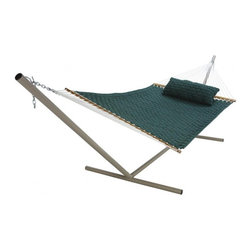 "Pawleys Island - Large SoftWeave Hammock - Green - The wicker-like weaving pattern of cushiony, cottony-soft, all-weather fabric ribbons is as charming to look at and comfy to recline in as it is tough against the elements.  Hammock stand and pillow sold separately.  Total length 13', bed size 55x82""."
