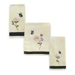 """Saturday Knight Ltd. - March Aux Fleur Bath Towel - The March Aux Fleur Towel Collection gives an ode to everything that's pleasing and wonderful. It features the beauty and color of flowers and butterflies against a cream background. Bath towel measures 25"""" x 50"""". Each size sold separately."""
