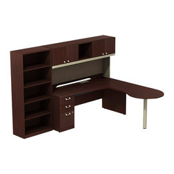 "BBF - BBF Quantum 72"" RH Peninsula L-Desk with Pedestal and 5-Shelf Bookcase - BBF-Commercial Grade Office-QUA009CSR-Artfully designed Quantum never goes out of style. Arrange it for basic small-footprint configurations or expand and accessorize for more complex needs. The BBF Quantum Harvest Cherry 72"" W RH Peninsula L-Desk with 3-Drawer Pedestal (B/B/F) 72"" W Hutch and 5-shelf Bookcase offers style and plenty of storage for any office. Its ""L"" configuration and peninsula takes up minimal floor space and provides a place for associates to gather. pre-Drilled holes for optimal articulating keyboard tray (sold separately) are centrally located. Single pedestal return has two box drawers for miscellaneous supplies and one file drawer for letter-or Legal-Zize files. Central lock keeps bottom two drawers secure. Hutch has four enclosed compartments and one open center section. Fabric tack board holds pictures notes and more. Wire management keep work surfaces clean of cables and cords. Extruded aluminum door and drawer pulls are solid and stylish. 5-Shelf Bookcase features three adjustable shelves for storage flexibility of odd-size manuals and two fixed shelves for stability. Thermally fused laminate surface resists scratches and stains while durable edge banding protects against dings and dents. Includes BBF Limited Lifetime warranty is American made and GSA approved."