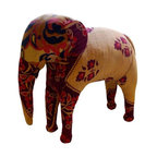 Vintage Kantha Quilt Elephant - A vintage elephant constructed from kantha quilts. This charming piece has a great textural quality, sure to be an interesting worldly accent to your decor. The elephant is in good condition.