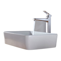 Kraus - Kraus White Rectangular Ceramic Sink and Virtus Faucet Chrome - *Add a touch of elegance to your bathroom with a ceramic sink combo from Kraus