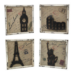 Set of 4 World City Postcard Themed 3D Wall Plaques with Landmarks - This set of world city wall hangings is a wonderful addition to the home or office of the avid traveler. Each plaque has a wooden frame with a distressed finish and a burlap background with a postcard theme, complete with images of stamps and postmarks. The London plaque features a metal cut out of Big Ben, Paris features the Eiffel tower, Rome features the Coliseum, and New York features the Statue of Liberty. Each plaque easily mounts to the wall with 2 nails or screws by the triangle hangers on the back. This set is a great gift that is sure to be admired.
