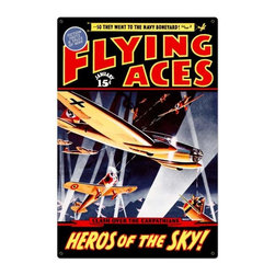 Past Time Signs - Flying Aces Tin Sign 24 x 36 Inches - - Width: 24 Inches