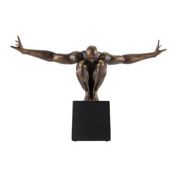 Bronze Finish Nude Male on Platform Outstretched Arms - This bronzed statue depicts a nude male model in a bending pose, arms outstretched, showing the muscular lines of his ahoulders and back. Made of cold cast resin, it measures 20 inches long, 13 1/2 inches tall, and 4 inches wide. The bronze finish emphasizes the beauty of the piece, from the detailed muscle tone to the tips of the toes. It is a wonderful addition to art collections, is beautiful at any angle you choose to display it, and is sure to be admired.
