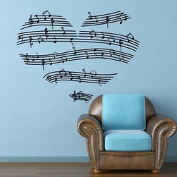 ColorfulHall Co., LTD - Music Wall Decals Removable Music Note Heart Design, Black - Music Wall Decals Removable Music Note Heart Design