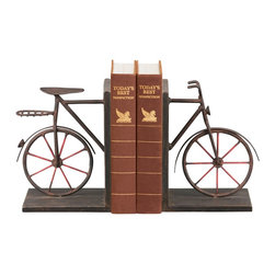 Sterling Industries - Sterling Industries Pair Bicycle Bookends X-7583-15 - This Sterling Industries bookend set features a single bike split into a pair. From the Bicycle Collection, the entire frame has been constructed of metal and set upon simple angular frames. The aged finish adds a vintage feel to this pair of bicycle bookends, completing the look.