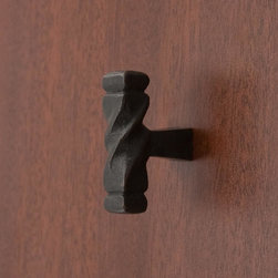 Solid Bronze Twisted Cabinet Knob - This rustic style cabinet knob features a twisted rod design that be mounted vertically or horizontally to suit your preference. Made of solid bronze with a Dark Bronze finish.