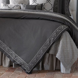 Frontgate - Silvio Duvet Cover - Queen - Woven of 100% Egyptian cotton. Simple knife edge seams. Machine wash; tumble dry low. The SFERRA Silvio Bedding Collection features gloriously refined lines and understated elegance, expertly sewn with the finesse of a master tailor. The main focus is a gorgeous expanse of Italian-woven yarn-dyed solid sateen in an opulent shade of Charcoal grey, buttery-soft and smooth as can be. Its subtle nod to decoration comes in the form of a stylish yarn-dyed woven jacquard border, neatly applied near the simple knife-edge seams of each piece.  .  .  . Made in Italy.
