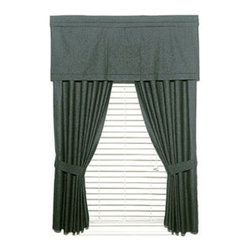 Dan River - 2-Piece Solid Black Denim Window Drapery Panel Curtain Set - Features: