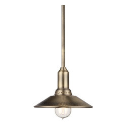 """Lamps Plus - Contemporary Zion 8"""" Wide Antique Brass Mini Pendant - Smooth in both style and design this industrial inspired pendant light features an antique brass finish. An included Edison bulb adds a touch of vintage flair that shines from beneath the metal shade. Great in multiples above a bar kitchen island pool table or long dining table. Antique brass finish. Includes one 60 watt Edison bulb. 8"""" wide. 6"""" high. Includes one 6"""" and three 12"""" extension rods. Canopy is 4 3/4"""" wide. Hang weight is 2.13 pounds.  Antique brass finish.  Includes one 60 watt Edison bulb.  8"""" wide.  Maximum 42"""" hang height.  Includes one 6"""" and three 12"""" extension rods.   Canopy is 4 3/4"""" wide.   Hang weight is 2.13 pounds."""