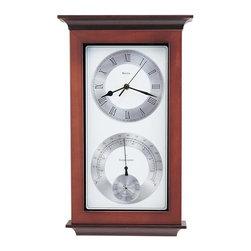 BULOVA - Bulova Yarmouth Wall Clock With Hygrometer And Thermometer Model C3760 - Solid wood case, walnut finish