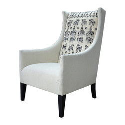 Kathy Kuo Home - Vintage Suzani Print Black Grey Modern Rustic Arm Chair - Hello, prints charming! Vintage Suzani fabric (a Central Asian specialty) adds distinction to a classic armchair — the perfect addition to your decor. Its simple, stately shape and washed-wool upholstery have traditional appeal, while the unique seat back brings unique, whimsical flair.