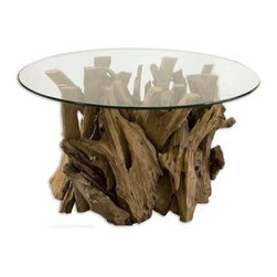 Uttermost - Uttermost 25519 Driftwood Glass Top Cocktail Table - Natural, unfinished teak driftwood sculpted into a sturdy table with a clear glass top.
