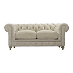 Curations Limited - Small Cigar Club Sofa in Beige Linen -