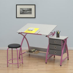 Studio Designs - Adjustable Desk Center with Stool  - Pink - Overall Dimensions: 50 in. W x 23.75 in. D x 29.5 in.  - 35.5 in. H.  Top Dimensions: 36 in. W x 23.75 in. D.  Three 12.75 in.  x 12.75 in.  Storage Drawers.  24 in.  Slide-Up Pencil Ledge.  Additional Under Desktop Storage Shelf.  Top Angle Adjustment from Flat to 40 Degrees.  Heavy Gage Steel Construction for Durability.  (6) Floor Levelers for Stability.  20.5 in. H Padded Stool IncludedThis 3-piece center by Studio Designs provides a comfortable work space and keeps your supplies easily accessible. The table top is adjustable up to 40 degrees and includes a 24 in. pencil ledge that slides up and locks into place when needed. The set also features three adjacent storage drawers and a padded stool. The durable heavy gage steel construction includes six floor levelers for stability. Main work surface: 36 in. W x 23.75 in. D. Overall dimension:50 in. W x 23.75 in. D x 29.5 in.  - 35.5 in. H