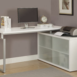 "Monarch - White Hollow-Core ""L"" Shaped Desk With Frosted Glass - This simple yet practical ""hollow-core"" desk is the perfect addition to your home office. The white finished desk can conveniently be placed on the left or right side offering you multi functionality. The underside provides you with space to store office supplies, papers, books, files folders, and plenty more behind beautiful frosted glass doors.. Use the spacious top for your computer, a lamp and even some pictures. This large work station with fit in perfectly into any space.; Material: Wood; Dimensions: 60""L x 48""W x 30.75""H"