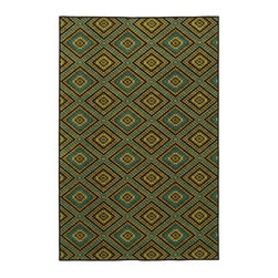 "Oriental Weavers - Indoor/Outdoor Lagos 3'7""x5'6"" Rectangle Brown-Green Area Rug - The Lagos area rug Collection offers an affordable assortment of Indoor/Outdoor stylings. Lagos features a blend of natural Brown-Green color. Machine Made of Polypropylene the Lagos Collection is an intriguing compliment to any decor."