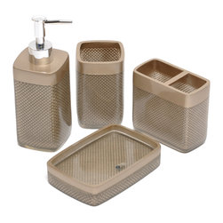 None - Gold Mesh Bath Accessory 4-piece Set - The gold mesh 4-piece bath accessory set is an elegant addition to any bathroom. Made of polyresin,this set features a diamond-weave beneath a smooth clear finish. This set includes a tumbler,soap dish,toothbrush holder and lotion pump.