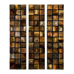 Galactic Textured Triptych Oil Painting - Set of 3 - Shades of amber, gold and honey radiate in the set of three dimensional panels of the Galactic textured triptych. Can be hung vertical or horizontal.