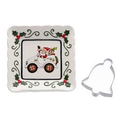 Cosmos - 5.5 Inch Santa Claus Driving Car Plate with Bell-Shaped Cookie Cutter - This gorgeous 5.5 Inch Santa Claus Driving Car Plate with Bell-Shaped Cookie Cutter has the finest details and highest quality you will find anywhere! 5.5 Inch Santa Claus Driving Car Plate with Bell-Shaped Cookie Cutter is truly remarkable.