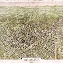 "Los Angeles 1909 - Birds-Eye Wall Map Mural  - Peel and Stick 1-Panel, 67"" x 42"" - A gorgeous panoramic map of Los Angeles in the early 1900's. This  birds-eye view of Los Angeles captures the city as it was in 1909. The map provides a look into the past of the second  largest city in the United States. Buildings, streets, parks, trees, and hillsides are  all artistically rendered on this map."