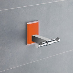 Gedy - Orange Mounting Polished Chrome Double Hook - Decorative double robe or towel hook made of brass with orange mounting made of thermoplastic resins. Double hook made of chromed brass. Orange mounting made of thermoplastic resins. From the Gedy Maine collection.
