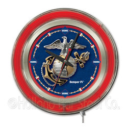 Holland Bar Stool - Holland Bar Stool Clk15Marine U.S. Marines Neon Clock - Clk15Marine U.S. Marines Neon Clock belongs to Military Collection by Holland Bar Stool Our neon-accented Logo Clocks are the perfect way to show your support for our troops. Chrome casing and a logo-complimenting neon ring accent a custom printed clock face, lit up by an brilliant white, inner neon ring. Neon ring is easily turned on and off with a pull chain on the bottom of the clock, saving you the hassle of plugging it in and unplugging it. Accurate quartz movement is powered by a single, AA battery (not included). Whether purchasing as a gift for your favorite soldier or as a gift for yourself, you can take satisfaction knowing you're buying a clock that is proudly made by the Holland Bar Stool Company, Holland, MI. Clock (1)