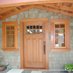 Craftsman Entry Door with Dentil Shelf - Craftsman style wood entry door with true divided lites and dentil shelf by Dynamic Architectural Windows and Doors.
