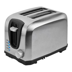 Kalorik - Kalorik 2 Slice Stainless Steel Toaster - High-tech toasting technology gets a high-style look with this sleek 2-slice stainless steel toaster featuring black accents. Not only will you impress your guests with its modern style but this unit also includes 4 functions with a LED light indicator for each: cancel toasting at any moment, reheat a previously toasted piece of bread, or automatically thaw a previously frozen piece of bread and lastly, toast bagels to perfection. This toaster also includes a slide-out crumb tray makes clean up hassle-free. Have complete control over your toasting!