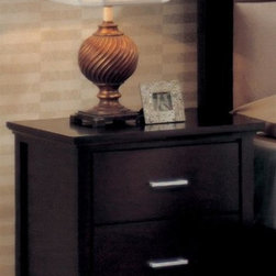 Yuan Tai - Reagan Contemporary 2 Drawer Nightstand in Espresso Finish - Enhance a bedside space, empty corner and more with this Reagan collection nightstand. Contemporary standout features a pair of storage drawers for your essential items. It's made with quality wood and veneers for durability, while the espresso finish adds extra pizzazz. Two drawers. Made from solid and wood veneers. No assembly required. 21 in. W x 14 in. D x 22 in. H (39.6 lbs.)