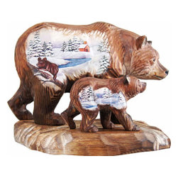 """Bears Family Wood Carved Sculpture - Measures 8.5""""L x 6""""W x 10.5""""H and weighs 4 lbs. G. DeBrekht fine art traditional, vintage style sculpted figures are delightful and imaginative. Each figurine is artistically hand-painted with detailed scenes including classic Christmas art, winter wonderlands, and the true meaning of Christmas, nativity art. In the spirit of giving, G.DeBrekht holiday décor makes beautiful collectible Christmas and holiday gifts to share with loved ones. Every G.DeBrekht holiday decoration is an original work of art sure to be cherished as a family tradition and treasured by future generations. Some items may have slight variations of the decoration on the decor due to the hand-painted nature of the product. Decorating your home for Christmas is a special time for families. With G. DeBrekht holiday home decor and decorations you can choose your style and create a true holiday gallery of art for your family to enjoy."""