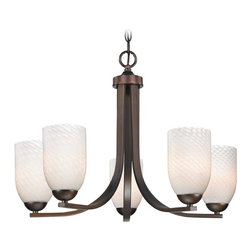 Design Classics Lighting - Bronze Chandelier with White Art Glass Shades and Five Lights - 584-220 GL1020D - Contemporary chandelier in Neuvelle bronze finish with white scalloped dome art glass shades. Takes (5) 100-watt incandescent A19 bulb(s). Bulb(s) sold separately. UL listed. Dry location rated.